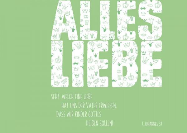 "Postkarte ""Alles Liebe, grün"""