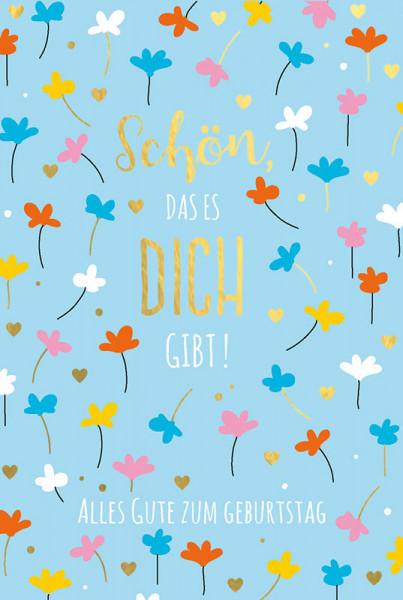 "Faltkarte ""Bunte Blumen auf blau"""