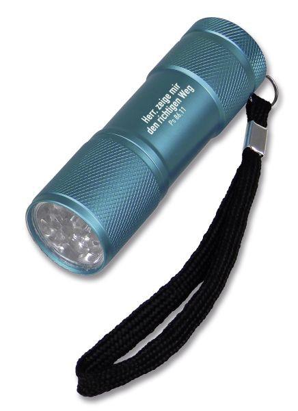 """LED-Taschenlampe """"Herr, zeige mir den richtigen Weg"""" - blau"""
