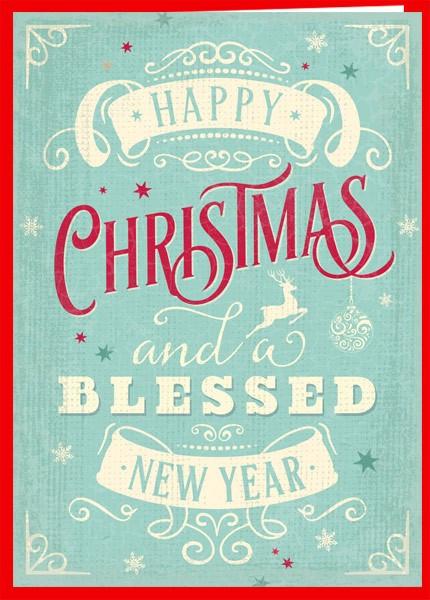 "Faltkarte ""Vintage - Happy Christmas"""