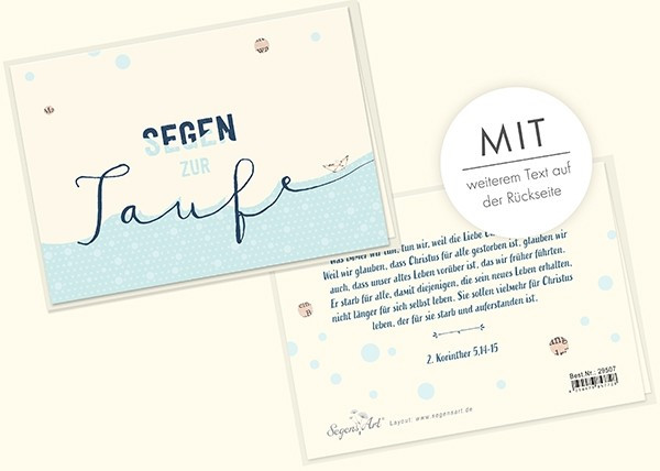 "Faltkarte ""Segen zur Taufe"""