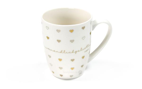 """Porzellan-Tasse """"unendlichgeliebt"""" (Gold-Edition)"""