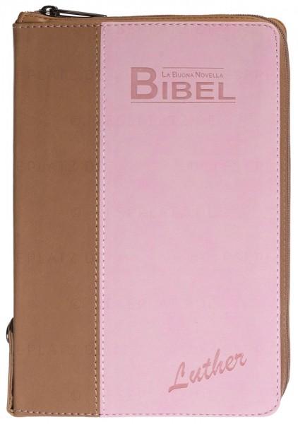 La Buona Novella Bibel - Luther - PU-Softcover Beige/Altrosa